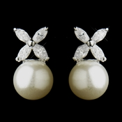 Silver Diamond White Pearl & CZ Crystal Dangle Drop Bridal Earrings 6013