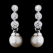 Antique Silver CZ & Pearl Earrings 3700
