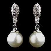 Silver CZ & Pearl Earrings 8313