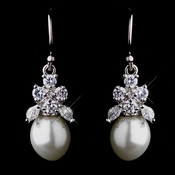 Antique Silver White Pearl & CZ Earrings 5441