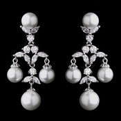 Lovely Antique Silver White Pearl & CZ Chandelier Earrings 7129