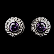 Vintage Silver CZ Amethyst Stud Earrings 3587