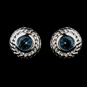 Vintage Silver CZ Aqua Stud Earrings 3587