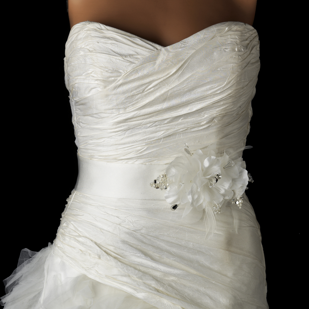 Wedding Gown Belts And Sashes: Silver Flower Austrian Crystal & Pearl Bridal Wedding Gown