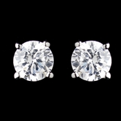 Silver Clear Round CZ Crystal Stud Pierced Earrings 0650