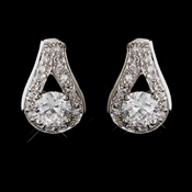 Antique Silver Rhodium Clear CZ Crystal Stud Earrings 6653