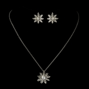 Antique Silver CZ Crystal Flower Necklace & Earrings Bridal Jewelry Set 8664