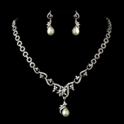 * Antique Silver CZ Crystal & Ivory Pearl Necklace & Earrings Bridal Jewelry Set 8622