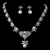 Silver White Necklace & Earring Set 12668