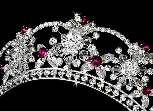 Sparkling Rhinestone & Swarovski Crystal Covered Tiara with Fuchsia Accents in Silver 523