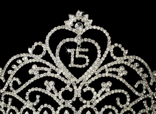 Regal Heart Tiara Sweet 15 Covered in Sparkling Rhinestones 233