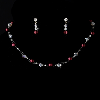"""Silver """"Red Clear"""" Pearl & Swarovski Crystal Necklace & Earrings Jewelry Set 207"""