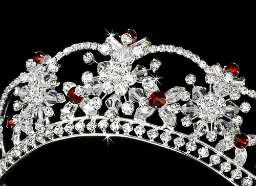 Sparkling Rhinestone & Swarovski Crystal Covered Tiara with Red Accents in Silver 523