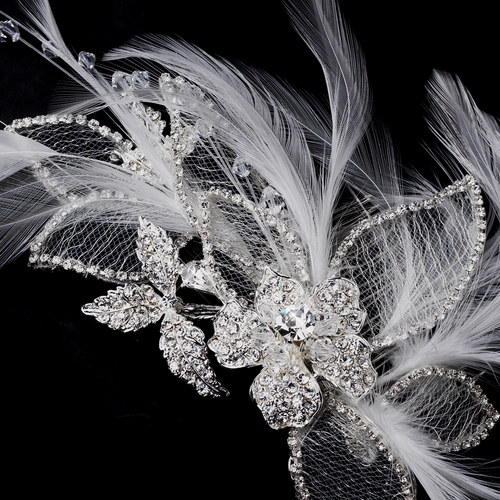 * Silver and White Feather Crystal Rhinestone Bridal Hair Comb or Clip 911