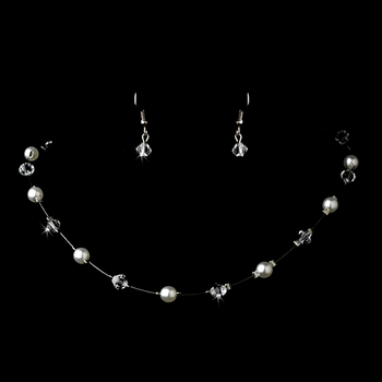 Silver White Necklace Earring 7220