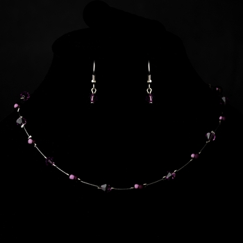 Silver Amethyst Necklace Earring 7220