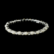 Silver White Pearl Bridal Stretch Bracelet 10352