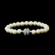 Ivory Glass Pearl Pave Ball Bridal Bracelet 720