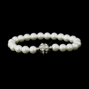 White Glass Pearl Pave Ball Bridal Bracelet 720