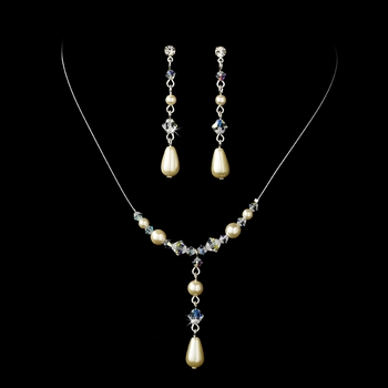 Delightful Silver Ivory Pearl & AB Crystal Bead Necklace & Earring Set 8154