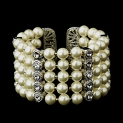 Antique Silver 5 Row Ivory Pearl & Rhinestone Cuff Bridal Bracelet 722***Discontinued***