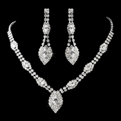 Silver Clear Necklace & Earring Sets