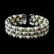 Antique Silver Diamond White 3 Row Pearl & Rhinestone Cuff Bridal Bracelet 723