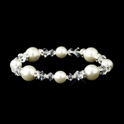 Pearl & Swarovski Crystal Bead Bridal Stretch Bracelet 8740 (White or Ivory)