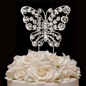Rhinestone Covered Butterfly Cake Topper in Sterling Silver 1026