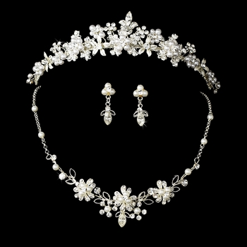 Pearl & Crystal Jewelry & Tiara Set: NE 6858 & HP 8452