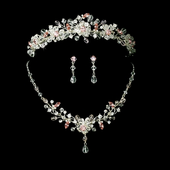 Pink Swarovski Crystal Bridal Jewelry & Tiara Set (other colors available)