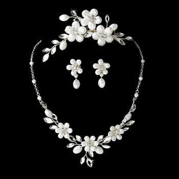 Floral Crystal Bridal Necklace Earring & Comb Set 8309