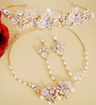 Gold Couture Bridal Necklace & Earring with Coordinating Headpiece Set NE 7803 & HP 7803 (Gold or Silver)