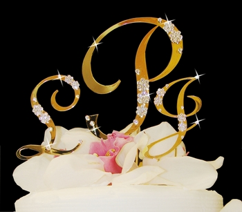 French Flower ~ Gold Crystal Accented Monogram Cake Topper Set