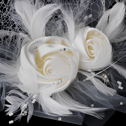 Twin Matte Satin & Feather Flower Fascinator on Russian Tulle Style Birdcage Veil in White or Ivory 1139