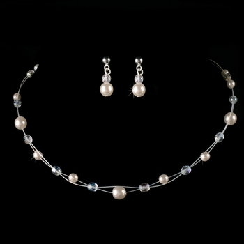 Children's Silver Ivory Pearl & Clear Crystal Bead Jewelry Set 8444