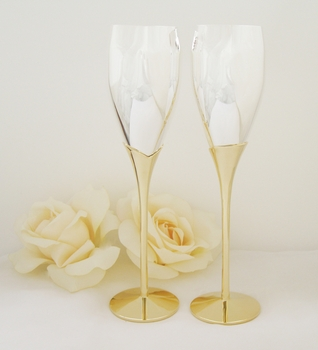Silver with Gold Lily Stem Champagne Flutes 22663