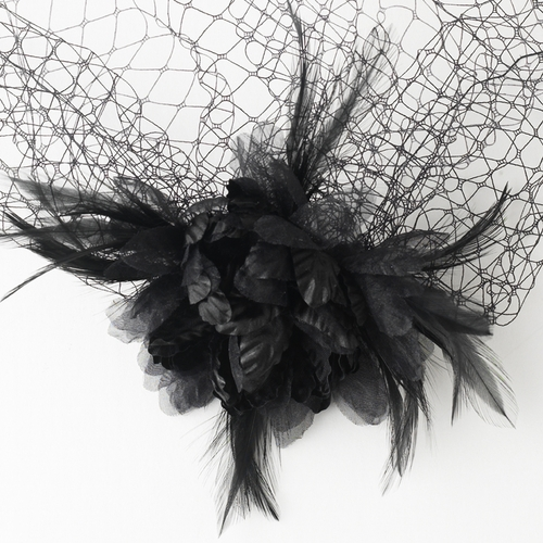 * Dramatic Black Feather Flower Fascinator & Birdcage Veil 7795