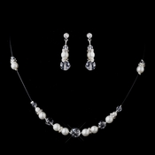 * Silver Ivory Clear Necklace & Earring Set 230