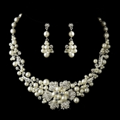 Silver Ivory Pearl & Rhinestone Flower Necklace & Earrings Bridal Jewelry Set 7660