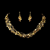 Gold Brown Pearl & Swarovski Crystal Necklace & Earrings Bridal Jewelry Set 8249