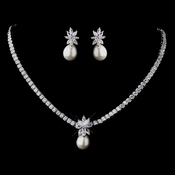 Pearl & CZ Bridal Jewelry Set 8614