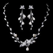 Silver CZ Necklace & Earring Set 1284