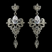 Antique Silver Clear Dangle Tear Drop CZ Crystal Bridal Earrings 8485