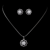 Silver Clear CZ Flower Necklace & Earring Set 8596