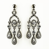 Hematite Smoked Black Diamond Crystal Chandelier Bridal Earrings 8681
