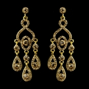 Gold Topaz Rhinestone Chandelier Bridal Earrings 8681