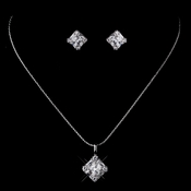 Silver Clear CZ Necklace & Earring Set 8597