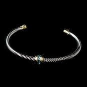 Silver with Gold Accent & Aqua Rhinestone Bracelet 3248
