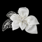 Silver & Ivory Fabric Accented w/ Crystals, Bugle Beads & Rhinestones Flower Hair Clip 9633